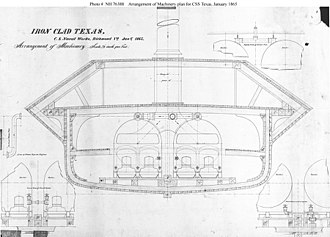 Technical drawing tool - The ship's steam machinery installation drawing for the iron-clad CSS Texas, 1865