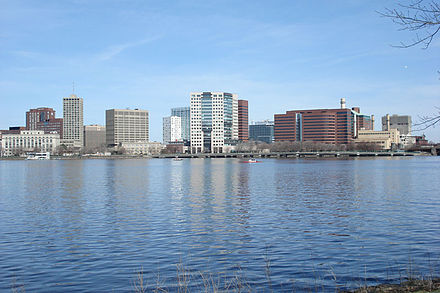 Buildings of Kendall Square, center of Cambridge's biotech economy, seen from the Charles River