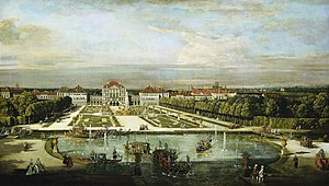 Nymphenburg Palace - Nymphenburg Palace, around 1760, as painted by Bernardo Bellotto.