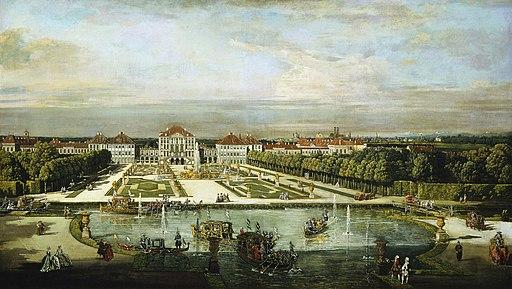 Canaletto (Bernardo Bellotto): Schloss Nymphenburg und das Große Parterre von Westen