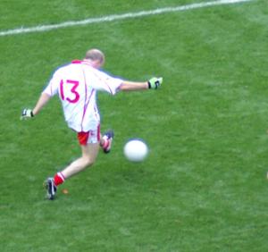 2005 All-Ireland Senior Football Championship Final - Peter Canavan shoots during the match.