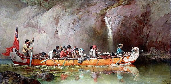 Canoe Manned by Voyageurs Passing a Waterfall.jpg