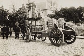 Rimailho Model 1904TR - 155 Rimailho near Reims, being moved to the front during World War One.