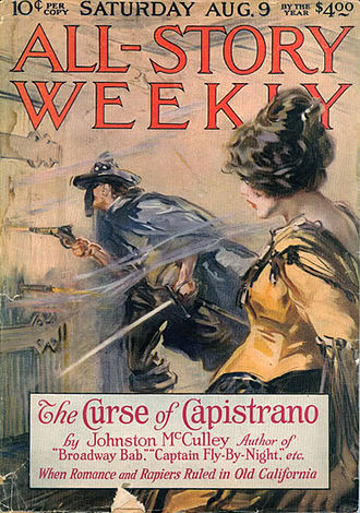 Zorro - Zorro's debut in the novel The Curse of Capistrano (1919).