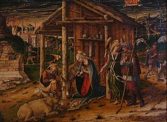Luke 2 - Adoration of the shepherds, by Carlo Crivelli (1490, Musée des Beaux-Arts de Strasbourg)