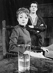 Carolyn Jones and John Church in the Broadway play The Homecoming (1967)