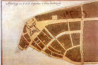 The original city map of New Amsterdam, called the Castello Plan, from 1660 (the bottom left corner is approximately south, while the top right corner is approximately north) The fort eventually gave the name to The Battery, the large street leading from the fort later became known as Broadway, and the city wall (right) possibly gave the name to Wall Street. CastelloPlanOriginal.jpg