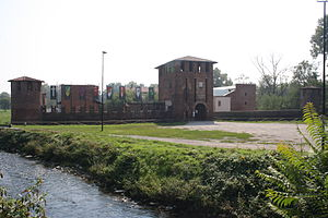 Legnano - Castle of Legnano. On the left, the River Olona