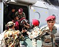 Casualties brought from Lamabagar to Kathmandu by an Indian Air Force (IAF) Mi-17 V5, being received by the Indian Paramedical team, post a recent massive earthquake occurred in Nepal on May 13, 2015 (2).jpg