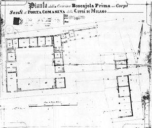 Cascina a corte - Planimetrics of Cascina Boscajola in Milan