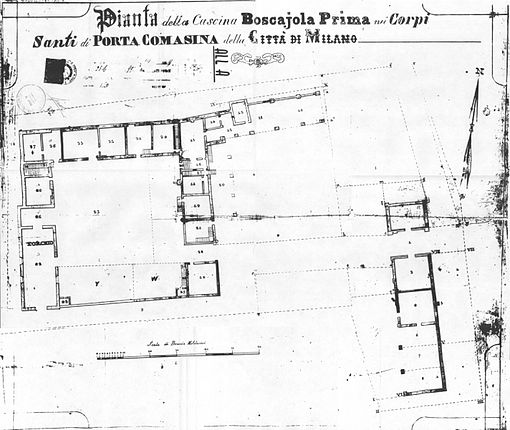 Mappa dettagliata della Cascina Boscajola del Catasto di Carolo VI