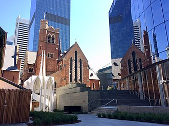 Cathedral Square, Perth - St George's Cathedral, Cadogan Song School, Church House, City of Perth Library and the David Malcolm Justice Centre