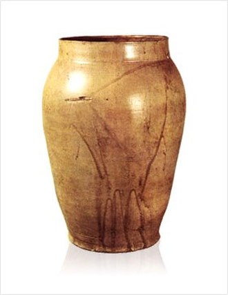 Goryeo ware - An example of celadon made when production technology was not fully developed, having introduced from China. The color is yellowish brown. It is the only celadon of the Goryeo era that was found which the production age, purpose, and maker are recorded together.