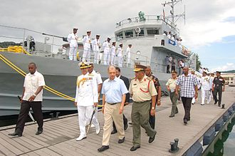 India–Seychelles relations - Adm Robin K Dhowan and Seychelles President James Michel at a ceremony to transfer INS Tarasa from the Indian Navy to the Seychelles Coast Guard, 7 November 2014.
