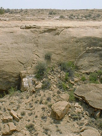 Ancestral Puebloan dwellings - Stairs carved in a cliff face in Chaco Canyon.