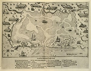 Nauset Archeological District - A 1605 map showing Nauset Harbor lined with the wigwams of the Nauset tribe