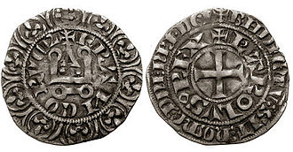 Charles IV of France - A Charles IV tournois coin; Charles debased the French coinage during his reign, creating some unpopularity.
