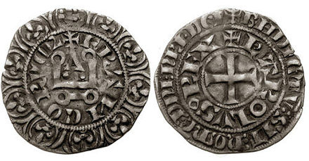 A Charles IV tournois coin; Charles debased the French coinage during his reign, creating some unpopularity. Charles IV maille blanche.jpg