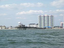 The Cherry Grove Pier, as seen from the Atlantic Ocean.