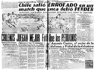 Chile–Peru football rivalry - Image: Chile 1935 Newspaper Football Loss Against Peru