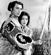 Chiyonosuke Azuma and Shinobu Chihara in Satomi Hakken-den (1954).jpg