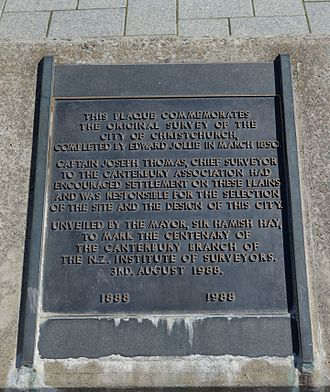 Christchurch Central City - Plaque in Cathedral Square commemorating the Christchurch survey