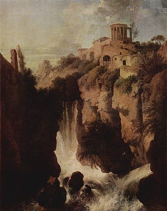 Temple of Vesta, Tivoli - Falls of the Aniene by Christian Wilhelm Ernst Dietrich, c. 1745-50: a romanticized view.