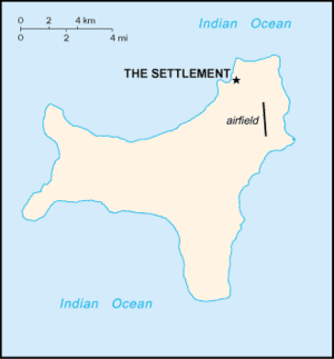 Flying Fish Cove - Map of Christmas Island showing the location of Flying Fish Cove 'The Settlement'