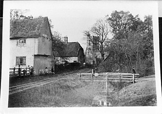 Wilden, Bedfordshire - Old photograph of Church Walk Wilden in about 1900, showing Village Farm, the Post Office (later known as Tudor Cottage), and St Nicholas Church