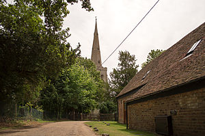 Church of St Denys, Colmworth - Image: Church of St Denys, Colmworth from the road