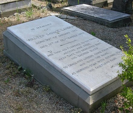 His tomb in English Cemetery at Florence Cimitero degli inglesi, tomba walter savage landor-2.jpg