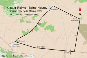 Grand Prix de la Marne - Street Map - Reims - Beine-Nauroy 1925