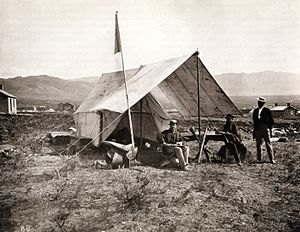 Clarence King - Clarence King; Camp near Salt Lake City, Utah. The exploration of the Survey of the Fortieth Parallel.  Photo by Timothy H. O'Sullivan, October 1868.