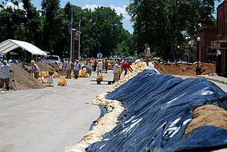 Clarksville, Missouri - Sandbagging of low-lying areas on the Mississippi River, June 2008