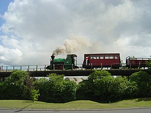 Sittingbourne and Kemsley Light Railway - Melior passing over Milton Regis Viaduct bound for Kemsley Down