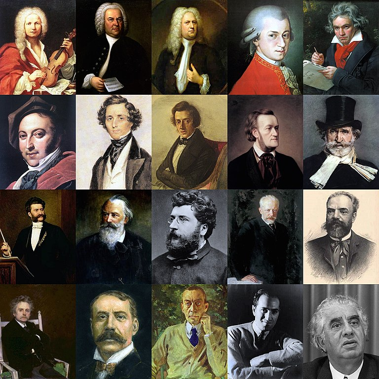 pictures of various composers
