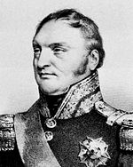 Black and white print shows a confident-looking man with long sideburns and a receding hairline. He wears a dark military uniform with a high collar, epaulettes, and one decoration.