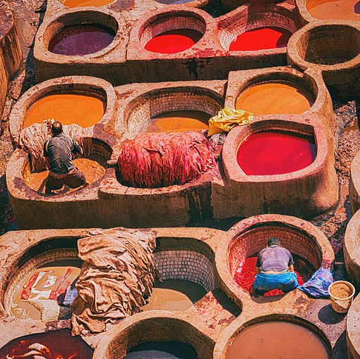 Clothes dyers in Fez, Morocco