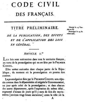 Napoleonic Code - First page of the 1804 original edition.