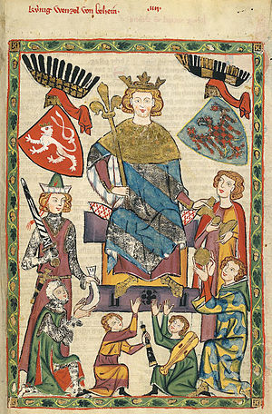 Kingdom of Bohemia - Wenceslaus II as depicted in the Codex Manesse