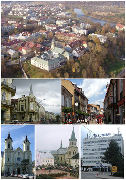 Town view, Top: Areal view of the San River and Wojtostwo town center area, including the Old Market Square, and Franciscan Monastery. Middle left:Teseusza Kosciuszki Street, Middle right:Three Maja Street, Bottom left:Przemienienia Panskiego Cathedral, Bottom middle:Franciscan Cathedral, Bottom right: Autosan headquarters in Sanok.