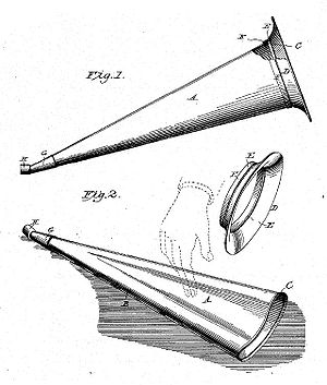 Horn loudspeaker - A collapsible cone horn with removable flared bell. This horn was patented in 1901 for gramophone record playback