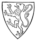 Fig. 34.—Armorial bearings of Henry de Lacy, Earl of Lincoln (d. 1311): Or, a lion rampant purpure. (From his seal.)