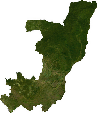Geography of the Republic of the Congo - Satellite image of Congo, generated from raster graphics data supplied by The Map Library.