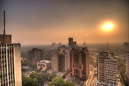 Dense smog at Connaught Place, New Delhi. Connaught Place sunset.jpg