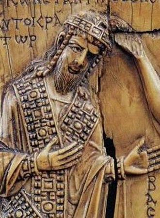 Porphyrogennetos - Constantine VII Porphyrogennetos in a 945 carved ivory