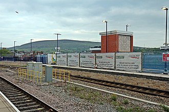 Stalybridge railway station - Construction work, on platform 3, to add lifts to the station subway.