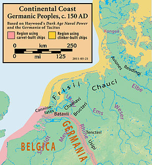 Frisii - Map of the modern coastline of the Netherlands, Germany, and Denmark, showing the Germanic peoples that lived there c. 150 AD and shipbuilding techniques they used.