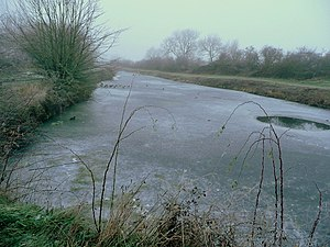 Coombe Hill Canal - The frozen canal from the terminal wharf