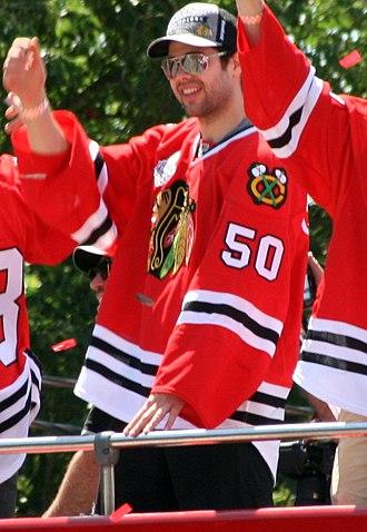 Corey Crawford - Crawford during the Blackhawks 2013 Stanley Cup parade